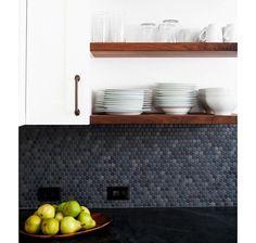 Gray Penny Tiled Backsplash by Regan Baker, Remodelista