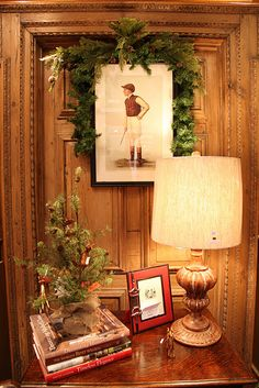 Garland around a Print ...On a beautiful old pine door/look at the detail!