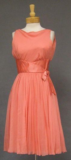 Wilson Folmar Salmon Silk Chiffon & Satin 1960's Cocktail Dress