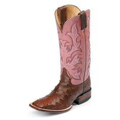 Justin Ostrich Square Toe Boots ❤