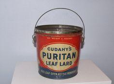 Cudahy's Puritan Leaf Lard bucket  4 lb size  1940s by wonderdiva, $22.00