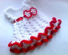 White red Baby Dress with crochet bow detail, Baby Clothes, Holiday dress,  Infant Clothes,Newborn Outfit ,Infant Clothes