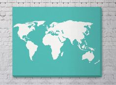 Canvas World Map Print - Stretched Canvas - Travel Nursery Decor - 1.5 inch Gallery Wrapped Canvas - Large World Map Wall Art - Large Canvas...