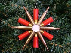 Shotgun Shell Crafts | New Red Shotgun Shell Riffle Shell Snowflake Christmas Tree Ornament ...