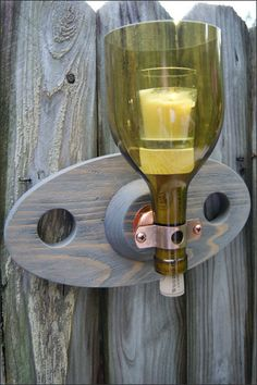 Repurposed Wine Bottle Candle Wall Sconce with Wooden Bracket, Wood and Glass Wall Sconce, Lantern, Wine Bottle Wall Décor,