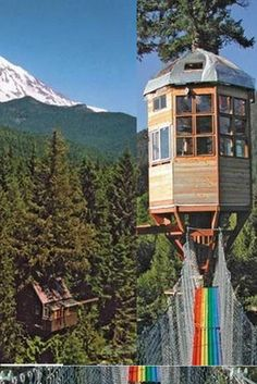 Cedar Creek Treehouse, Near Ashford, Washington, US    A double-deck treehouse built to make the most of the stunning scenery in Gifford Pinchot National Forest: views of the Sawtooth Range and Mount Rainier, as well as meteor showers. Sleeps five and has a sun room and kitchen
