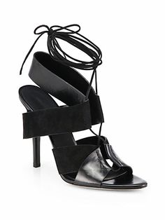 Alexander Wang - Malgosia Leather & Suede Lace-Up Sandals - Saks.com