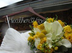 Calla lilies, Crapsedia Balls, yellow freesia~Stems Flower Shop