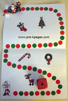 Holiday math board game using stickers and clipart via   www.pre-kpages.com/xmas/