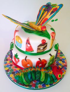Elaine's Sweet Life: The Very Hungry Caterpillar Cake with Butterfly. Made with fondant and hand painted.