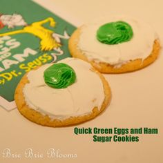 Quick Green Eggs and Ham Sugar Cookies | Brie Brie Blooms