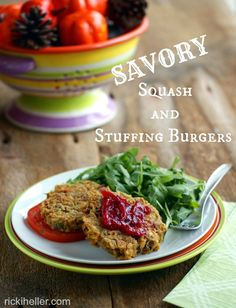 Encore Edibles: Squash and Stuffing Burgers: GREAT use of leftovers! #vegan #glutenfree #recipe | rickiheller.com