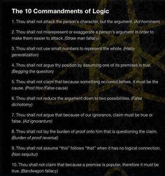 The 10 Commandments of Logic