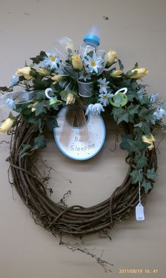 Grapevine wreath-baby decor