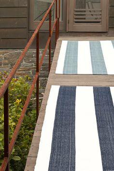 navy striped outdoor rug. love love. 6x9 $298