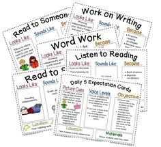 Daily 5 Anchor Charts - completed charts & blank charts