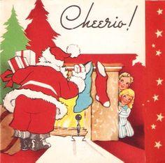 Vintage Christmas Card Santa Stockings Children