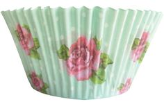 50 VINTAGE ROSE Themed Party Cup Cake Bun Cases Baking Flowers Celebration