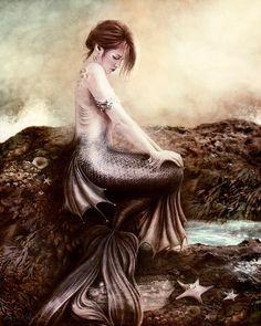 Sea Faerie, Mermaid Art Print 11 x 13 inch.