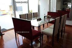 Hermoso comedor TAMASHIRO, con moderna mesa de acero y elegantes sillas. ¿y tu como quieres tu comedor? Consultas y pedidos: mueble.peru@hotmail.com Telefono: 7989801