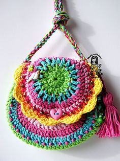 Crocheted Rainbow Bag by Vendula Maderska on Ravelry.  $5.00 for pattern 6/14.