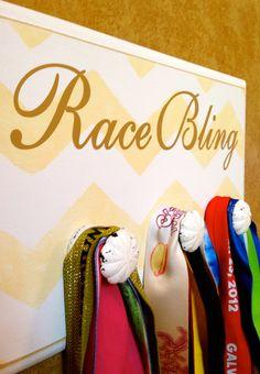 Half Marathon, Marathon, TRI Medal Display Holder,  Chevron Plaque - Race Bling - Yellow on Etsy, $34.99 Medals Display, Halfmarathon, Craft, Half Marathons, Diy Fun, Medaltrophi Display, Display Holder, Marathon Medal Display, Chevron