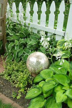white picket fences, galleries, balls, gaze ball, garden gaze, gardens, garden idea, france, globe