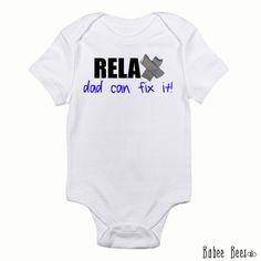 Dad Can Fix It Gifts for New Dad Funny Baby Clothes by BabeeBees, $15.00
