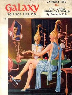 Is she piloting a space ship, getting her hair and nails done, controlling some evil machine, or multi-tasking? [Galaxy Science Fiction No 55  (Jan 1955)]