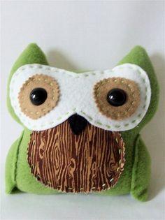 Green Owl woodgrain by MisfitMenagerie on Etsy, $20.00