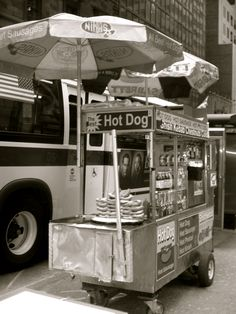 New York  hot dog stand.