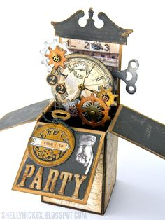 Steampunk Pop-Up Box Card - from Shelly Hickox at Stamptramp