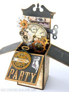 Stamptramp: Steampunk Pop-Up Box Card ...can use SU clock works