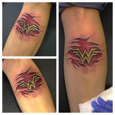 Wonder Woman tattoo with skin rips