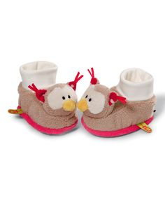 Look at this Owl Rattle Baby Booties on #zulily today!