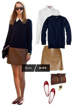 navy sweater + white shirt + camel skirt