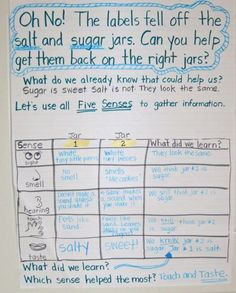 Could this science project be any more fun for kids!? I just love all of this teachers activities. Using the five senses, decide which is sugar and which is salt.