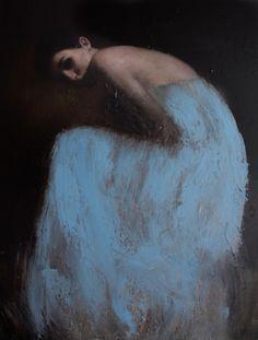 // Mark Demsteader - Erin in Blue, oil on canvas