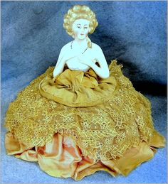 Porcelain Goebel Germany Half Doll on Pin Cushion