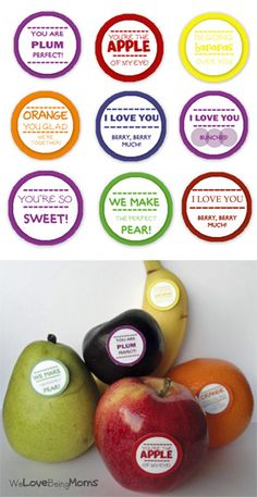 Free printable tags with cute saying to put on fruit, and a healthy gift idea!