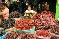Chili stall in Mexico by drewleavy