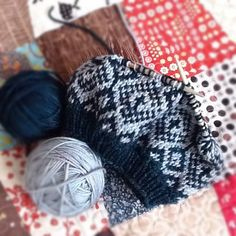 Blue and white fair isle knit hat