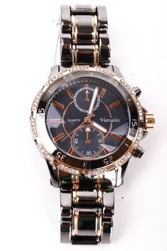 GUNMETAL ROSE GOLD RHINESTONE ACCENT BOYFRIEND WATCH,Women's watch,fashionable style,beautiful watch,perfect watch,watch for women,elegant d...