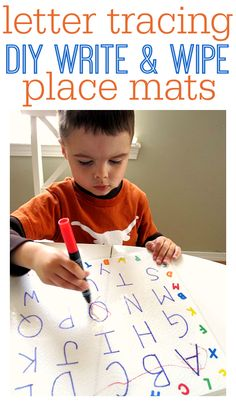 Simple DIY for letter tracing place mats