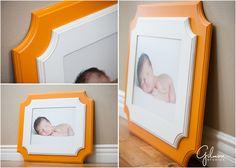 Gilmore Studios Product – Orange & White Organic Bloom Frame ~ Newport Beach Wedding, Newborn, and Family Portrait, Orange County Photographers, Boy Nursery Room, Bold, Modern, GilmoreStudios.com