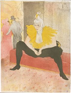 Henri de Toulouse–Lautrec (French, 1864–1901). The Seated Clowness (Mademoiselle Cha–u–Kao), 1896. The Metropolitan Museum of Art, New York. Alfred Stieglitz Collection, 1949 (49.55.50) | The success of Toulouse-Lautrec's posters advertising Parisian cabarets such as the Moulin Rouge led him to produce deluxe editions of prints of Montmartre's performers, such as this one of the clown and dancer Cha-u-Kao. #paris