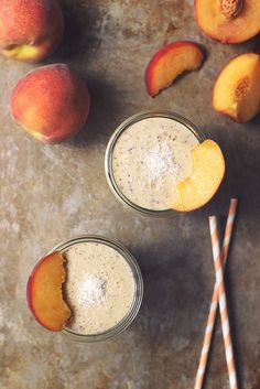 Peaches and Cream Smoothie (gluten-free and vegan)  #smoothie #drink #healthy #fruit #vegetables