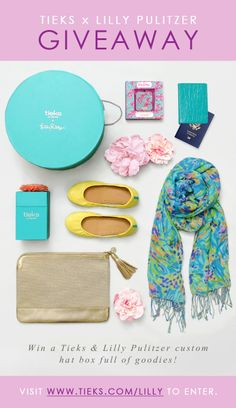 Tieks x Lilly Pulitzer Giveaway: www.tieks.com/lilly. Win a custom hat box filled with a $200 Tieks gift card & leather passport case + a Lilly Pulitzer clutch, scarf & iPhone charger! Ends 5/20 at 11:59pm PDT. #TieksLovesLilly