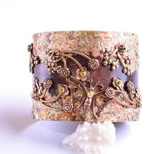 Art Nouveau Style Bracelet Cuff Statement Jewelry Couture Flower Bracelet Cuff Adjustable from DesignsBloom on Ruby Lane