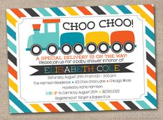 Choo Choo Train Printable Baby Shower Invitation